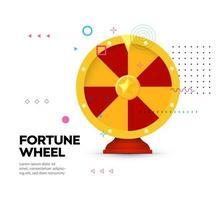 Fortune wheel icon on memphis style background. Gambling website banner. Random winner casino slot machine poster. Raffle prize. Money bets emblem. Isolated lottery,roulette vector illustration.
