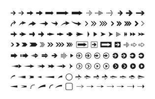 Arrows black and white vector icons set. Pointers in circle and rectangle isolated symbols pack. Next, forward, previous buttons monochrome signs bundle. Cursors pictograms collection