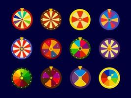 Fortune Wheels vector icons set, lottery wheel collection, vector illustration for online casino and gambling games