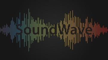 onda de sonido, fondo de forma de onda de audio. rango de frecuencia del ecualizador, ilustración de vector de grabadora de voz. Fondo de reproducción de banda sonora colorida. icono de lista de reproducción de música aislado.