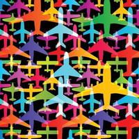 Airplane seamless background. Aircraft transportation colorful pattern template. Aviation vector repeatable texture.