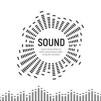 Logotipo de onda de marco de círculo de sonido musical, tecnología de ecualizador digital de audio, panel de consola, pulso musical, ilustración vectorial. vector