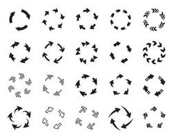 Refresh black and white vector icons set. Arrows in circles isolated symbols pack. Uploading process, rewind, update monochrome signs bundle. Repeat and restart pictograms collection