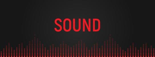 ecualizador de audio, ilustración de reconocimiento de rango de voz. reproducción de música, icono de la banda sonora. espectro de audio digital. Vibraciones de sonido rojo aislado sobre fondo negro vector