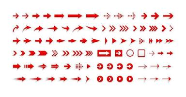 Arrows vector icons set, right pointers pack. Next, forward, previous buttons red signs bundle. Cursors pictograms collection
