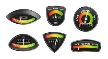 Analog business speedometers collection. Set of retro stylish icons on a black background in speedometer form. Vintage displays set with evaluation results. Vector illustration.