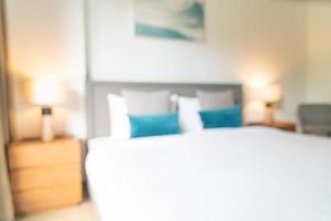 Desenfoque abstracto y dormitorio de resort de hotel desenfocado para el fondo foto