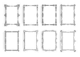 Set of white paper sheets with linear geometric frame around the sheet, classic minimalistic frame style. Borders for poster, banner, greeting card, invitation template. Futuristic design vectors. vector