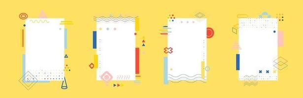 Conjunto de carteles de estilo minimalista abstracto colorido, fondo de formas geométricas de Memphis. portada para libro, volante, informe anual, resumen creativo. plantilla de patrón de diseño vectorial. vector