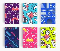 Set of Summer poster. Bright Memphis geometric design template for banner, card and flyer backgrounds. Creative vector illustration.