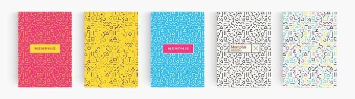 Conjunto de carteles coloridos abstractos de estilo minimalista, colección de fondos geométricos de Memphis. portada para libro, volante, informe anual, resumen creativo. plantilla de patrón de vector. vector
