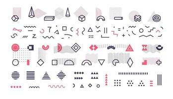 Simple geometric lines, memphis style shapes and patterns, big collection for memphis design decorate, decorative geometrical elements set vector