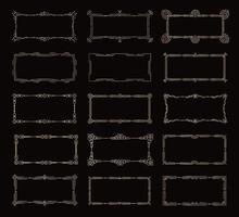 Golden horizontal frames, vintage decorative borders template on black background, geometric lines contour, element decor of modern and retro design, vector collection