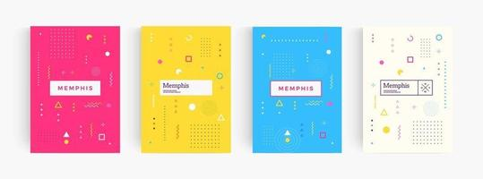 Colorful abstract minimalistic style poster, memphis geometric background, cover template, creative pattern Vectors. vector