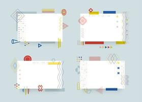 Blank office sheets set. Empty notebook pages collection. Minimalistic memo, reminder templates. Memphis style booklet papers. Stationary with geometrical elements. Business card. Corporate brochure. vector