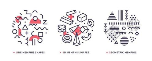 Geometrical round abstract modern isolated vector icons. Geometry elements drawing outline logo set. Memphis style geometric patterns collection.