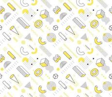 Geometric seamless volumetric shapes memphis style pattern. Geometry elements contour black, white and yellow backdrop. Geometrical drawing icons outline vector background.