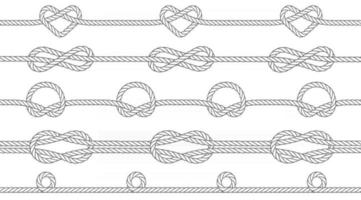 Seamless texture of ropes with knots. Knots of a circle, infinity and heart shape. Repeatable pattern. Vector illustration.