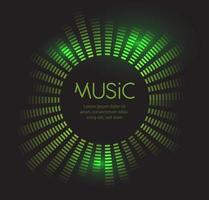 Green equalizer frame template. Disco Sound wave background. Vector illustration on black background.
