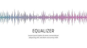 plantilla de cartel ecualizador. onda de sonido u onda de radio, ilustración vectorial. vector