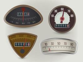 Speedometers, speed gauges realistic vector illustrations set. Retro vehicles round, triangular indicators with odometer counters. Isolated vintage automobile dashboard equipment, mph measuring device