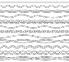 Nautical ropes monochrome outline vector illustrations set. Marine simple contour seamless borders pack isolated on white background. Knots, twisting strong strings thin line design elements