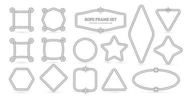 Nautical ropes vector creative outline borders set. Marine empty contour frames isolated pack. Thin line square, circle, star shapes with twisting threads lineart illustrations collection