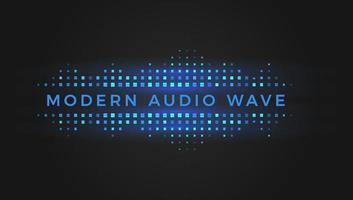 Modern geometric audio wave, blue and turquoise squares, digital equalizer, vector illustration on black background.