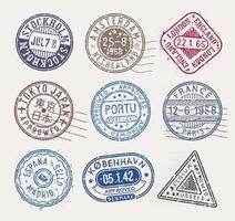 sellos postales, colección de vectores, sellos aislados sobre fondo blanco. vector