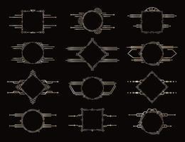Set of Frames. Golden geometric vector borders. Vintage antique decor elements. Decorative pattern element. Elegant frame set.
