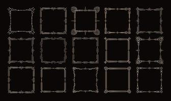 Golden frames, victorian geometric borders set, royal vector corners and lines on black background