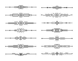 Abstract dividers vector set of geometric lines for page decor, art border and frame design, black stripes collection on white background