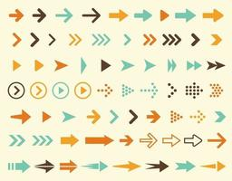 Collection of arrows icons in retro style and in vintage colors, large set of right pointers signs, vector illustration