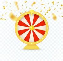 Golden fortune wheel icon, random choice wheel. vector