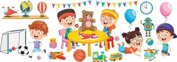 Kids Playing With Various Toys vector