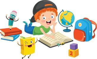School Kid Reading Book vector