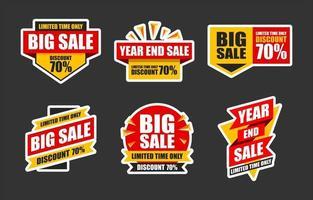 Set of Promotional Sale Sticker vector