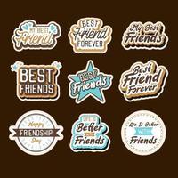 feliz dia de la amistad set de pegatinas vector