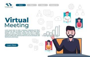 Online Virtual Meeting Landing Page vector
