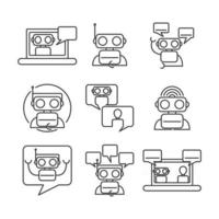 Chatbot Icon Set Collection vector