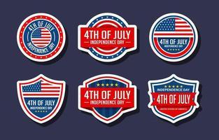 4th of July Sticker Set Badges vector