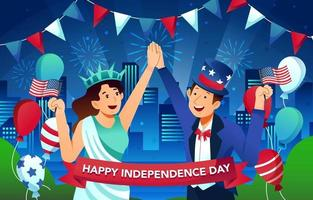 People Celebrate American Independence Day vector
