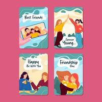 Set of Friendship Day Cards vector