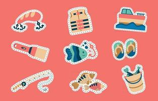 Sticker Pack Fishing Tools vector