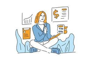 woman check finance business drawn illustration vector