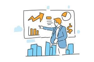 man presentation business success drawn illustration vector