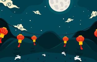 Mid Autumn Landscape with Red Lanterns vector