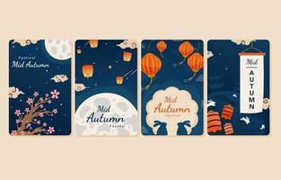 Set of Mid Autumn Festival Card vector