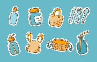 Sticker Pack No Plastic and Recycle vector