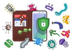Mobile protection. Smartphone with security shield and infection computer virus attack. Spam data, fraud internet error message, insecure connection, online scam concept. Vector illustration EPS